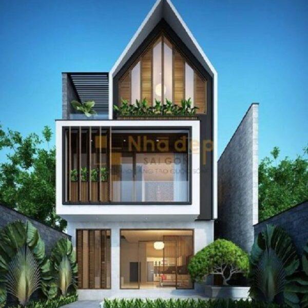Mẫu nhà 2 tầng 1 tum thiết kế mái thái đẹp mắt