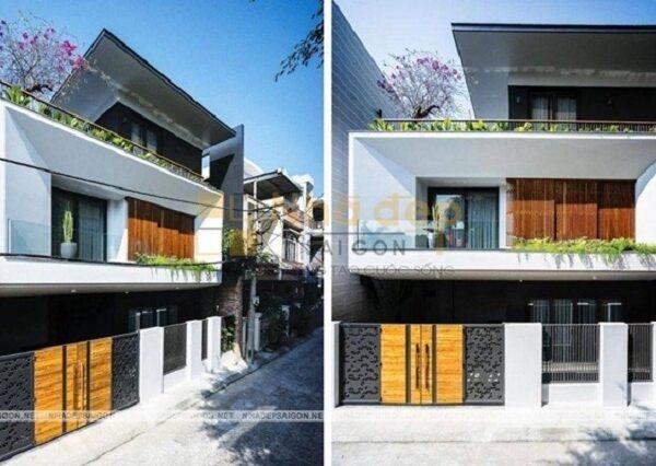 Ngôi nhà được thiết kế hiện đại, thêm 1 tum trông ngôi nhà thanh thoát hơn