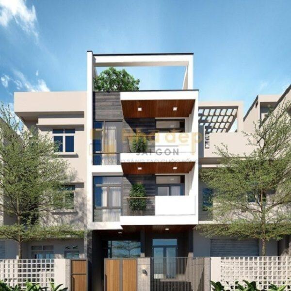 Mẫu nhà 6x18 – sử dụng hình khối vào mặt tiền tạo cho ngôi nhà có mặt tiền trong khỏe khoắn và sang trọng