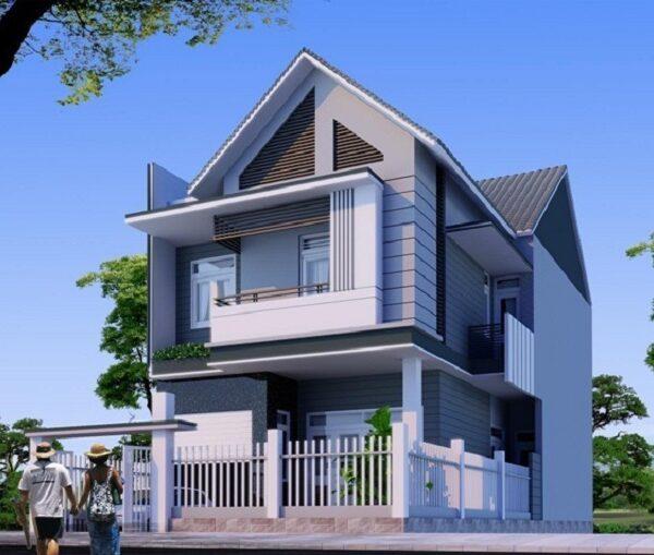 Mẫu nhà có thiết kế mái thái với 1 trệt, 1 lầu và 1 tum