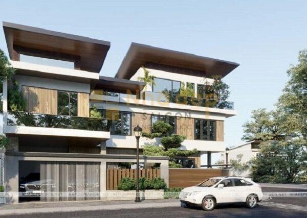 Mẫu biệt thự được thiết kế hiện đại, khỏe khoẵn khi sử dụng nhiều hình khối vào thiết kế