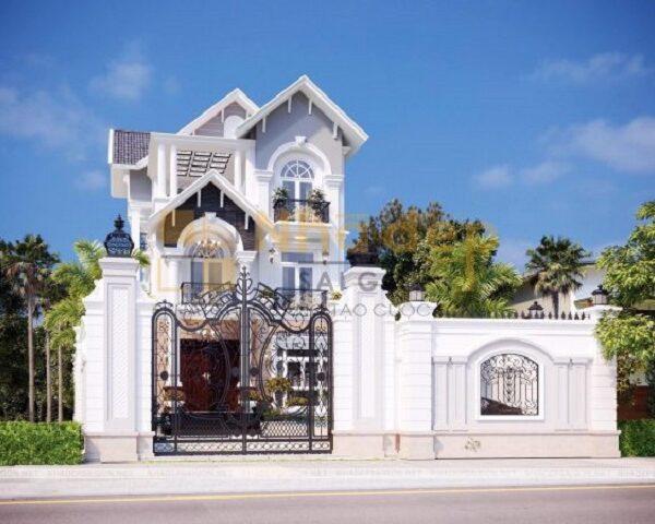Mẫu biệt thự theo phong cách tân cổ điển với màu trắng làm tông chủ đạo