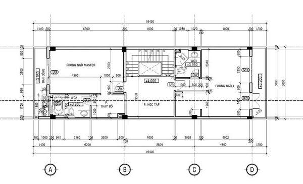 Tầng trệt: kiến trúc sư thiết kế từ sảnh vào là không gian phòng khách, bếp kết hợp ăn uống. Để tiện cho đi lại thì phòng vệ sinh được bố trí ở giữa. Bên cạnh đó là khu vực cầu thang.
