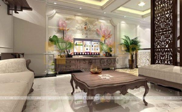 Không gian phòng khách sang trọng với thiết kế nội thất tân cổ điển