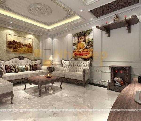 Mẫu nhà 6x9 - Bộ sofa màu sáng tạo điểm nhấn cho phòng khách