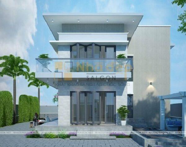 Mẫu nhà 7x14 thiết kế 2 tầng hiện đại với khoảng sân vườn rộng vừa phải