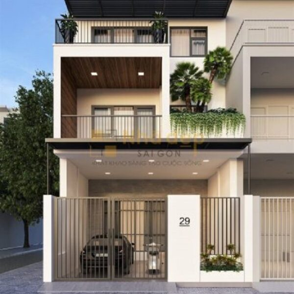 Một mẫu nhà 7x14 được thiết kế theo khu biệt thự liền kề, công năng sử dụng là 3 tầng hiện đại với ngoại thất đơn giản
