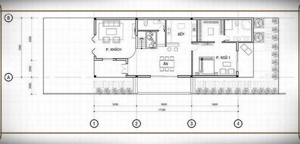 Bản vẽ tầng 1 mẫu nhà 7x17