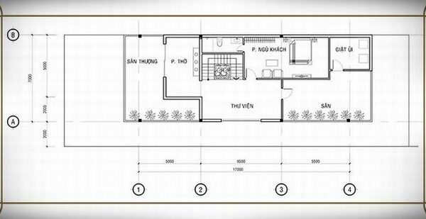 Bản vẽ tầng 2 mẫu nhà 7x17