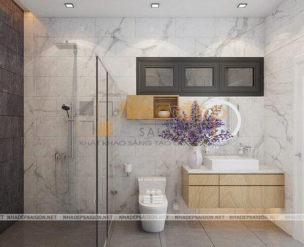 Phòng vệ sinh được thiết kế đơn giản