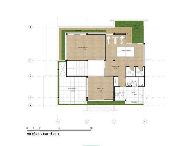 Mẫu nhà 8x12 – Mặt bằng tầng 3