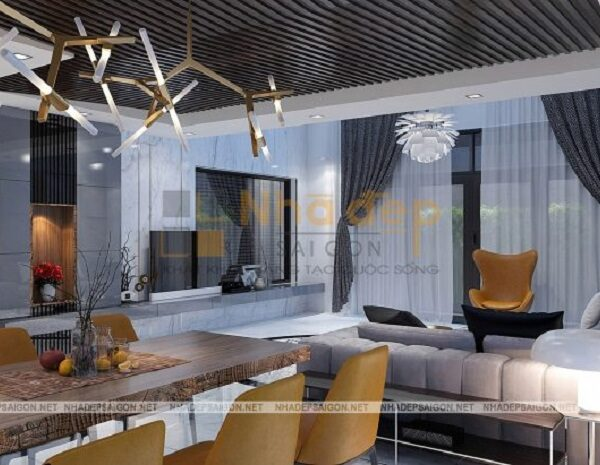 Phòng ăn có sự kết hợp giữ nội thất hiện đại và đương đại