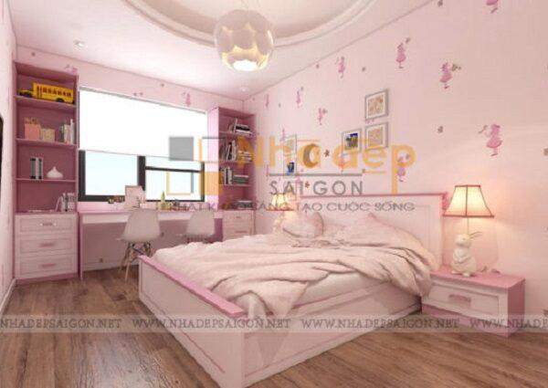 Tất cả nội thất của phòng ngủ đều được đồng nhất màu sắc