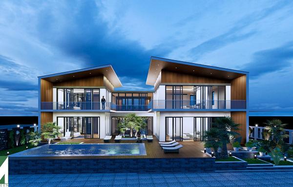 Mẫu nhà mái lệch 2 tầng – mẫu 2