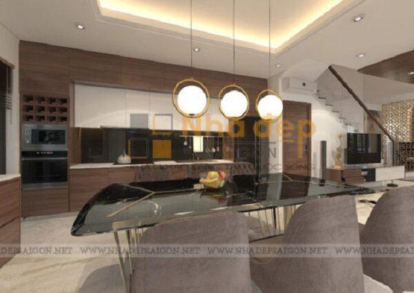 Chiếc đèn được kiến trúc sử dụng khá đẹp và phù hợp với bộ bàn ăn
