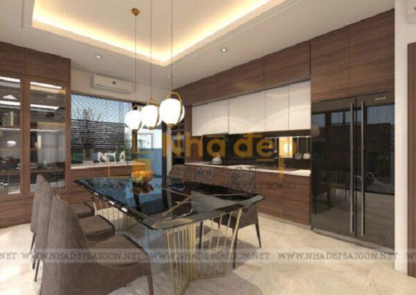 Mẫu nhà 8x13 - Không gian phòng bếp nổi bật với bộ bàn ăn được thiết kế ấn tượng