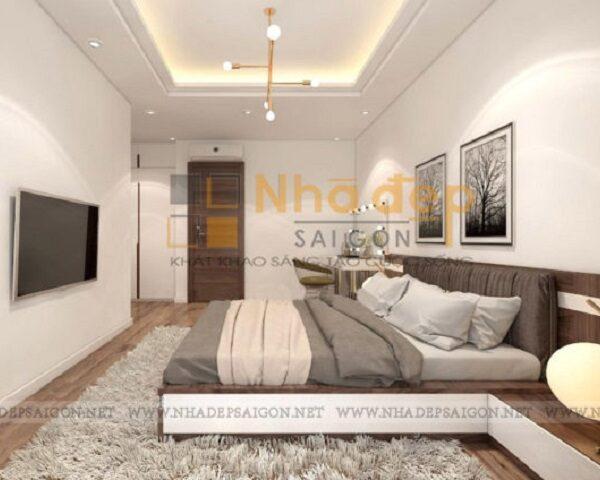 Không gian phòng ngủ có màu sắc nhẹ nhàng