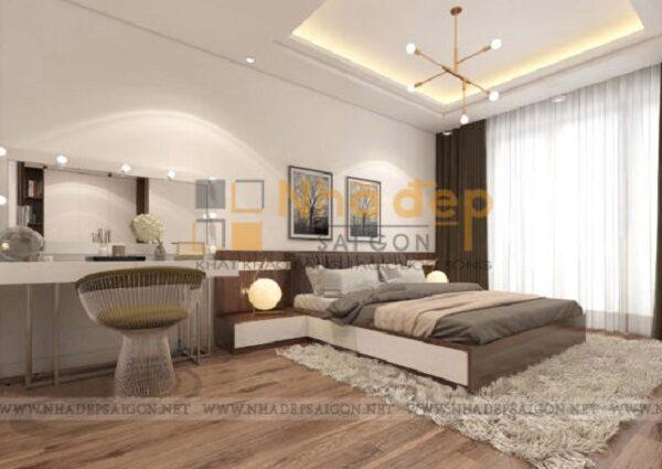 Phòng ngủ được tối ưu công năng và ấn tượng với chiếc ghế của bộ bàn trang điểm