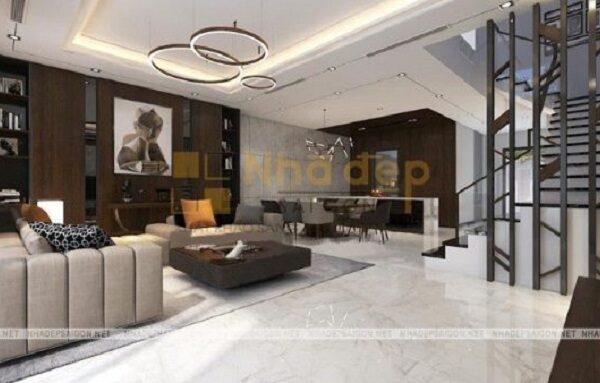 Không gian tầng trệt được thiết kế với ý tưởng liên thông giữ các phòng, tạo nên một thiết kế ấn tượng