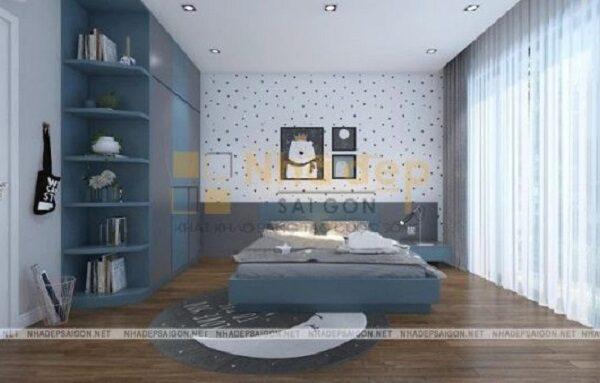 Phòng ngủ cho trẻ nhỏ với gam màu xanh nhẹ nhàng, tươi vui