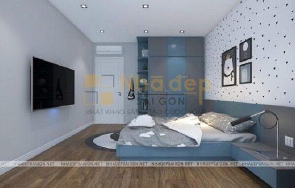 Căn phòng được kết hợp gam màu xanh đậm, nhạt hài hòa