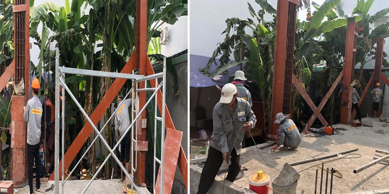 Thi công xây dựng cột nhà
