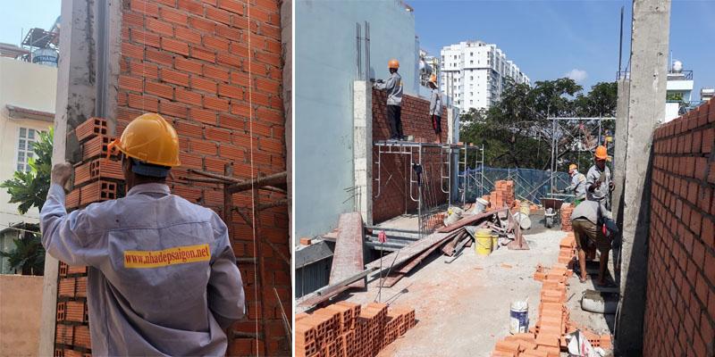công tác xây tường nhà