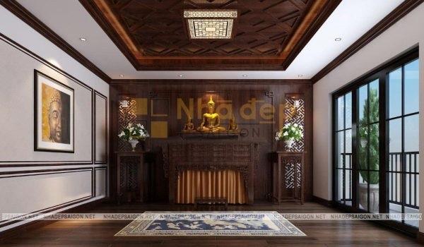 Phòng thờ phật sử dụng gỗ làm nguyên liệu chính