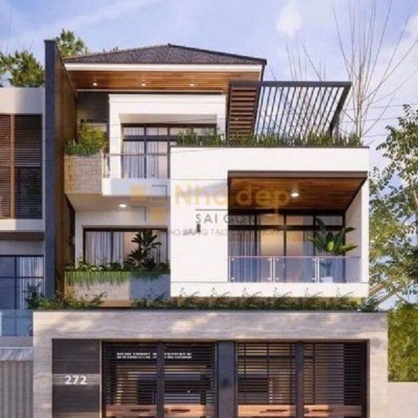 Thi công nhà phố huyện Củ Chi - Thiết kế nhà với cửa sổ kính thông thoáng
