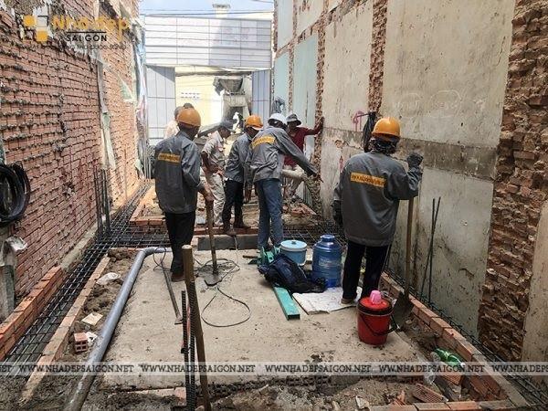 Thi công nhà phố Quận 10 – tiến hành xây phần thô
