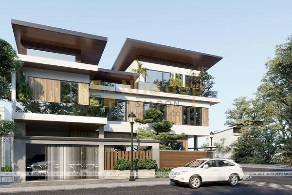 Thiết kế biệt thự 3 tầng với cấu trúc mái độc đáo