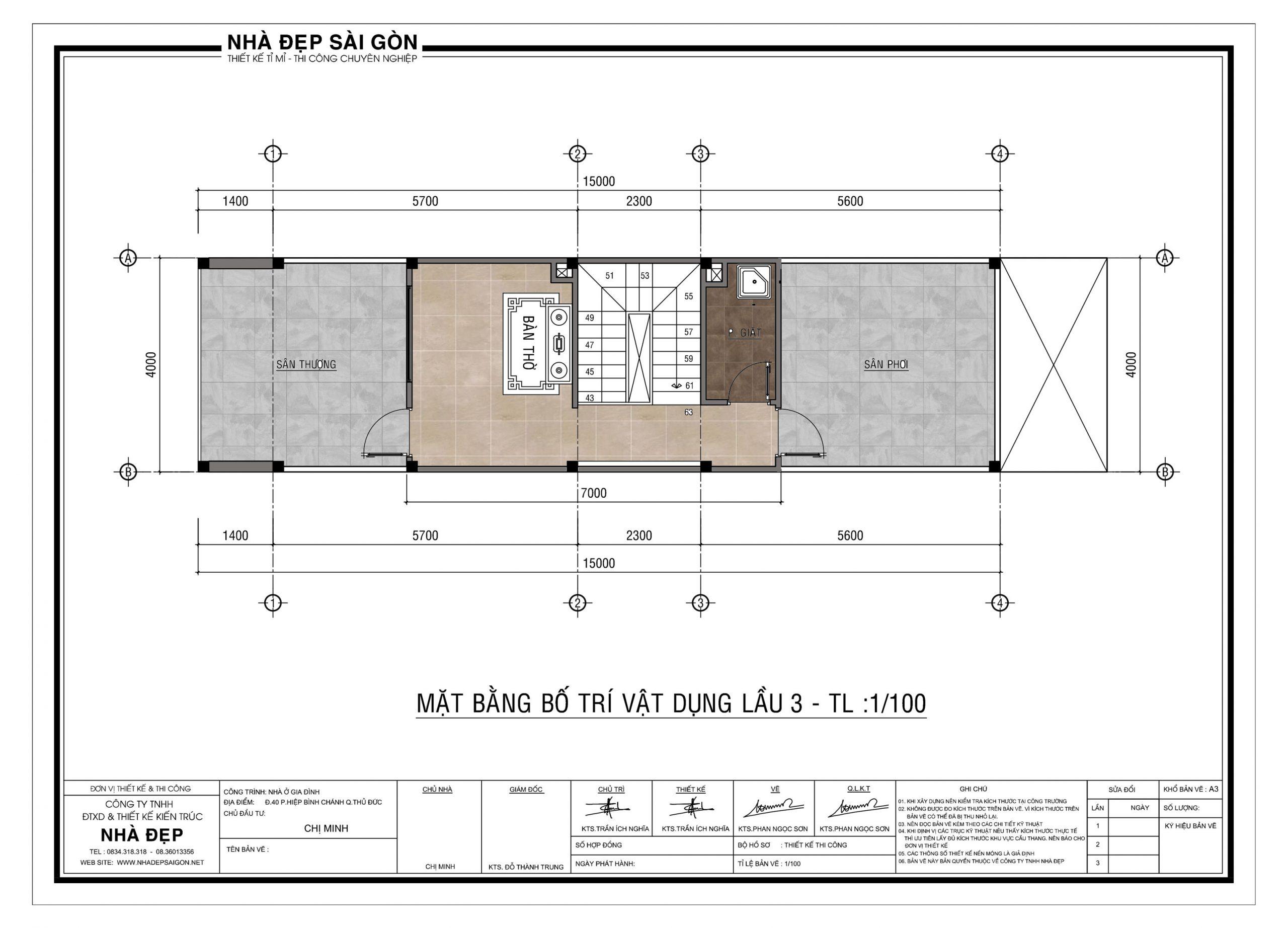 thiết kế nhà phố 4x20 bố trí lầu 3