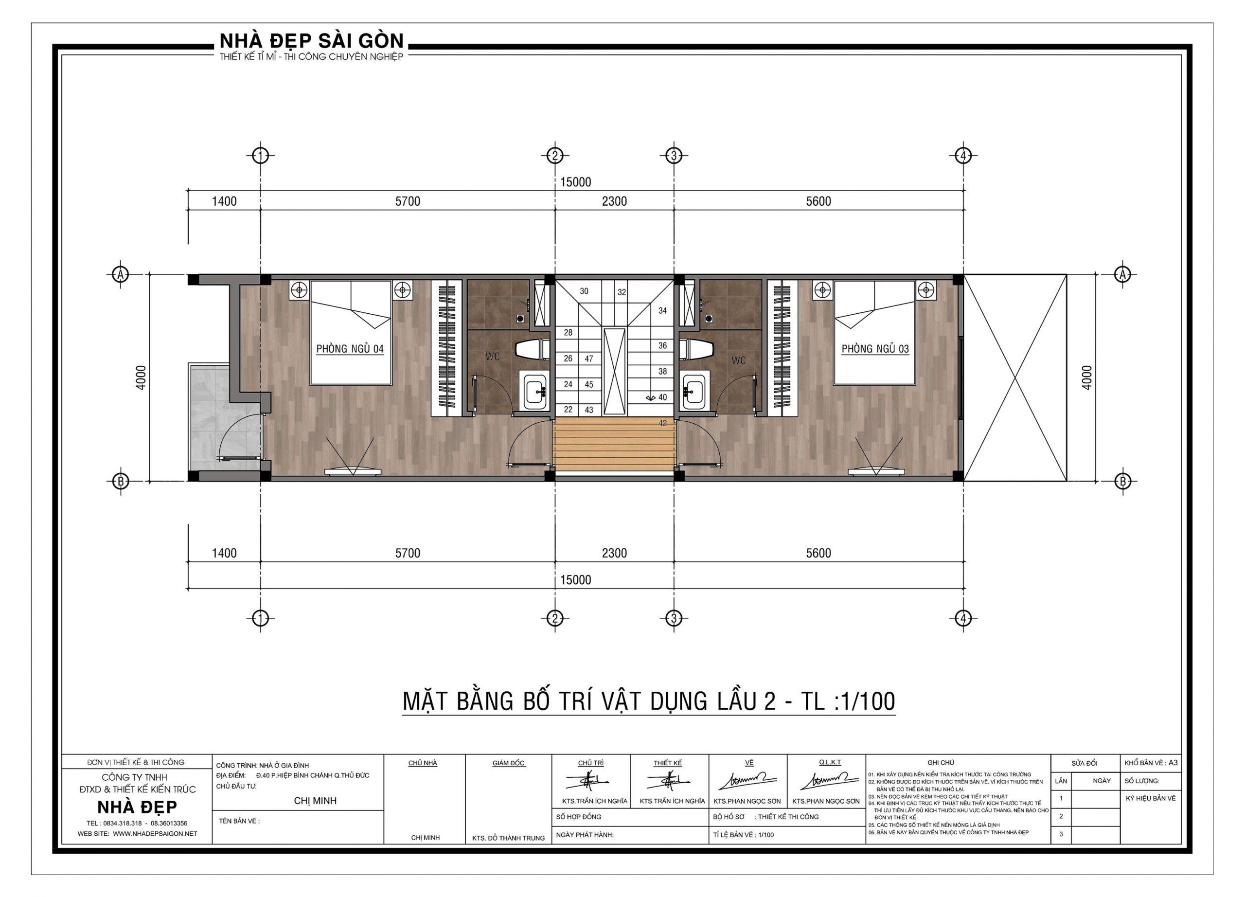 Lầu 02 của thiết kế nhà phố 4x20