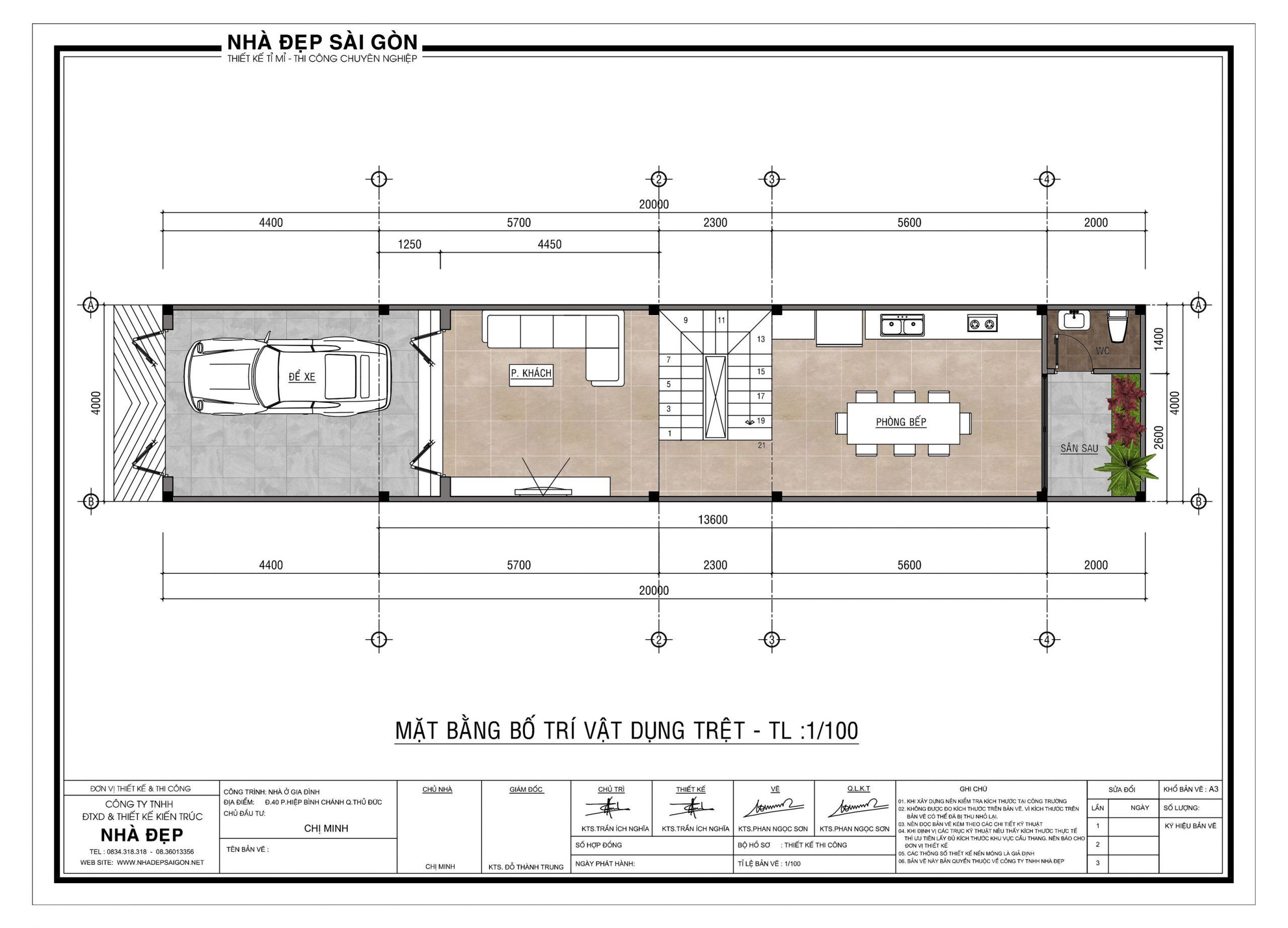 Tầng trệt của bản vẽ thiết kế nhà phố 4x20