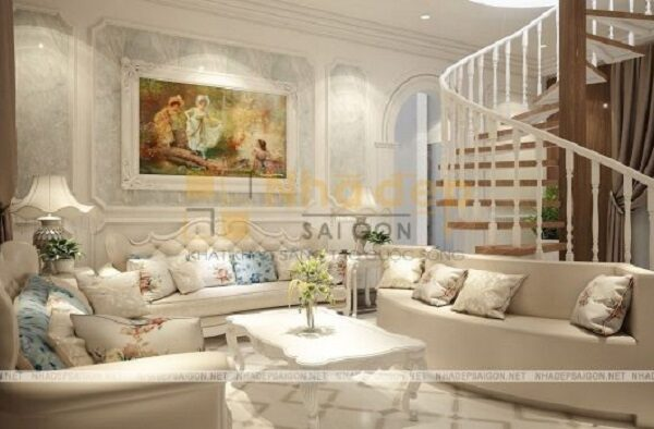 Không gian phòng khách với bộ sofa màu trắng sang trọng, nhẹ nhàng