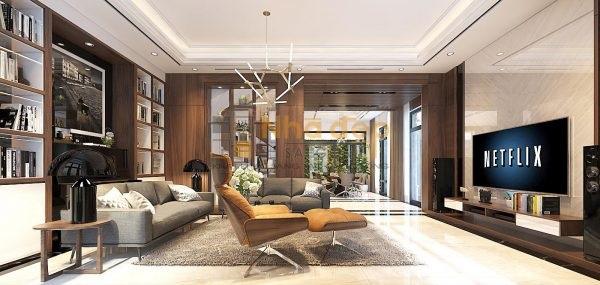 Khu vực phòng khách được bố trí lọ hoa tươi làm cho không gian trở nên nhẹ nhàng giữa những nội thất hiện đại của căn phòng