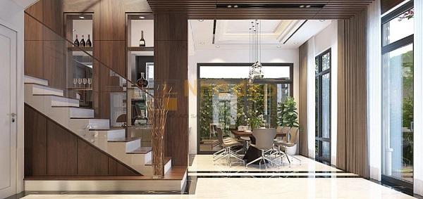 Không gian bếp rộng rãi, view hướng ra khu tiểu cảnh của ngoại thất