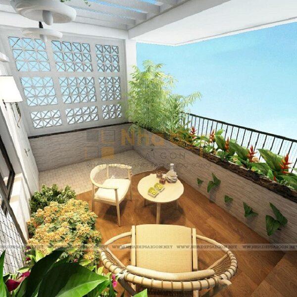 Khu vườn rộng lớn trên sân thượng