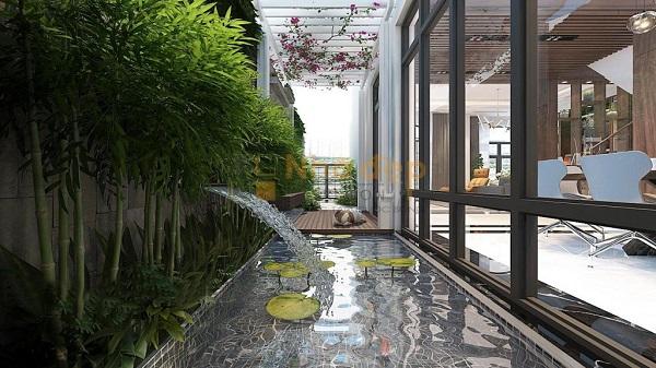 Không gian hành lang có hồ nước, hoa súng, cây trúc … một không gian lãng mạn và mát mẻ