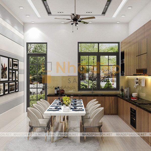Không gian phòng bếp, bàn ăn mang phong cách cổ điển thể hiện sự sang trọng, cổ kính đặc của các nước châu âu