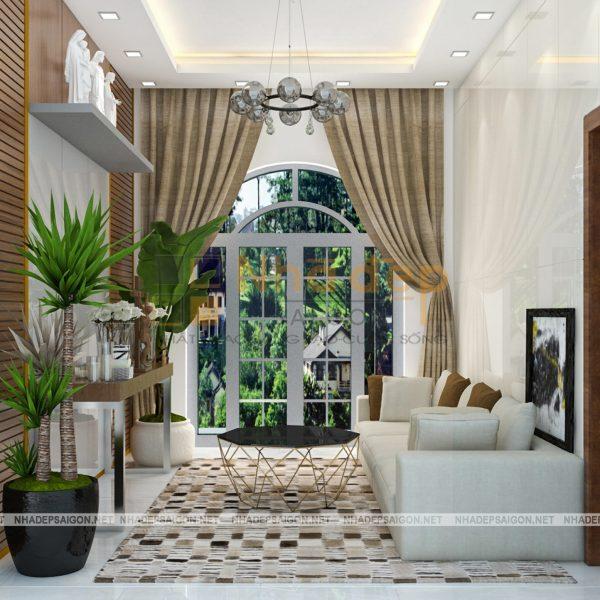 Phòng khách nhỏ nơi tầng 3 của mẫu nhà 9x15 có view hướng ra sân vườn của khu dân cư, kết cấu vòm cửa mang nét cổ xưa