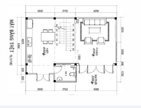Bản vẽ chi tiết tầng trệt cho mẫu nhà 9x6