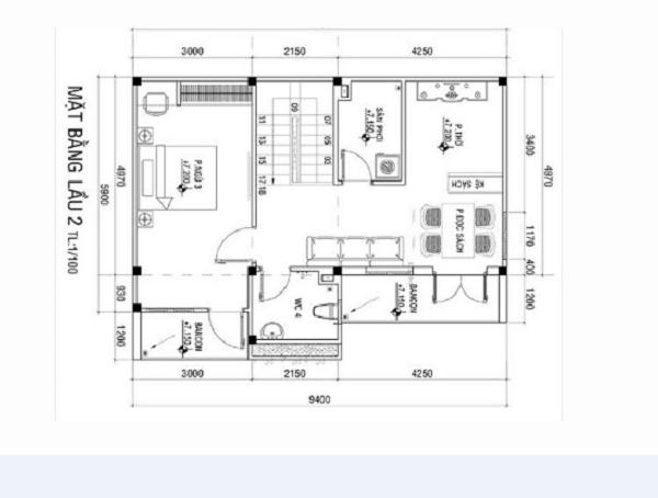 Bản vẽ chi tiết tầng 2 cho mẫu nhà 9x6