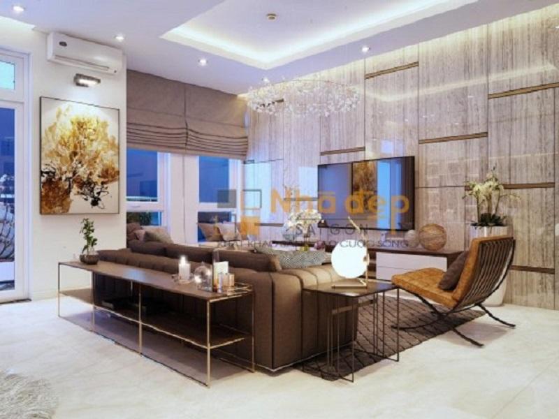 Cách phối màu phòng khách vàng ánh kim - nâu