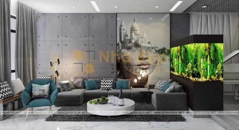 Không gian phòng khách có thiết kế khá đơn giản, thế kế màu sơn trung tính kết hợp với các chi tiết trang trí khác nhau, giúp không gian phòng khách trở nên cân đối và hài hòa.