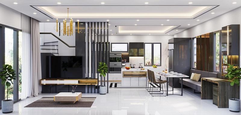 Thiết kết nội thất nhà phố theo phong cách hiện đại, trẻ trung.