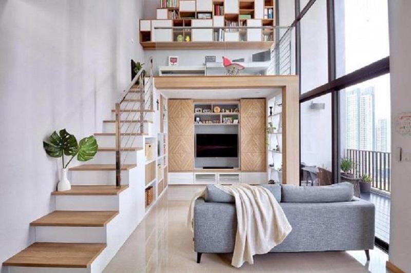 Gác lửng giúp bạn có thêm không gian khi sử dụng như: không gian làm phòng thư giãn, đọc sách giúp căn nhà trở nên ấn tượng hơn