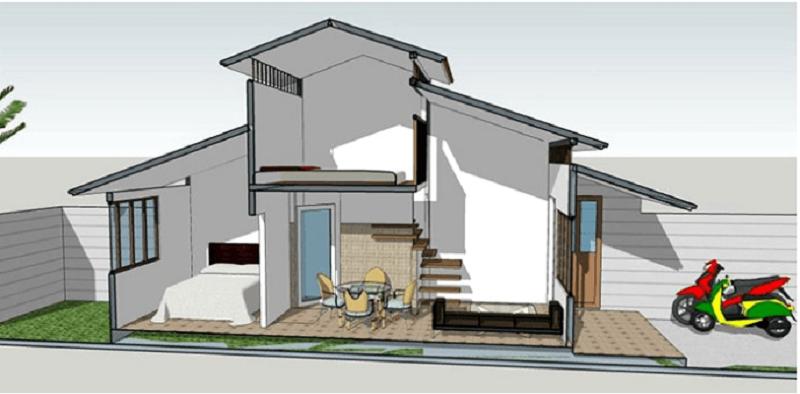 Mẫu nhà trên có thiết kế sử dụng mái tôn, thiết kế mái giật cấp khiến cho ngôi nhà có sự cân bằng về hình khối cũng như không gian. Khu tầng trệt được chia thành 3 khu vực phòng khách, phòng ăn và phòng ngủ. Mẫu nhà sử dụng 1 phòng vệ sinh ở tầng 1 và thêm 1 phòng ngủ trên gác lửng.