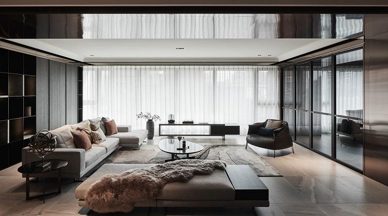 Thiết kế dạng cửa kính giúp không gian sống tận dụng tối đa nguồn sáng tự nhiên.
