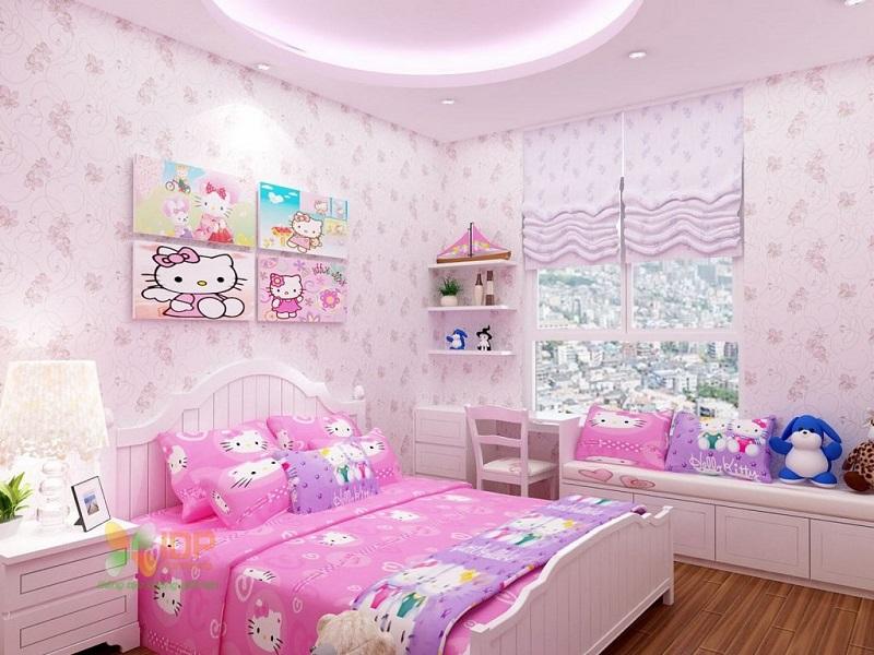 Phòng ngủ Hello Kitty ngọt ngào, dễ thương cho các bé gái.
